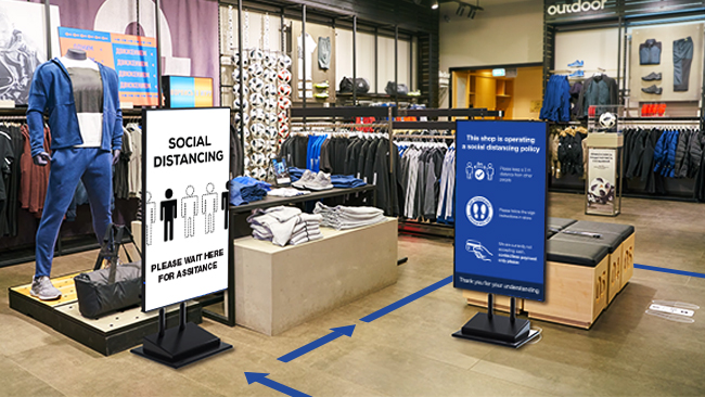 NEC Large Screen displays being used in a store to convey a message